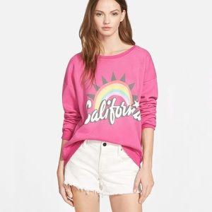 WILDFOX pink California rainbow sweater sweatshirt